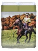 Wrangler And Horse Duvet Cover by Susan Candelario