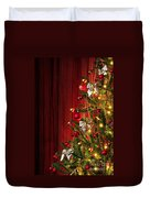 Xmas Tree On Red Duvet Cover by Carlos Caetano