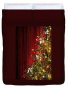 Xmas Tree On Red Duvet Cover