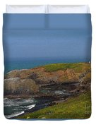 Yaquina Head Lighthouse And Bay - Posterized Duvet Cover