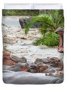Yawning Hippo Hippopotamus Amphibius Duvet Cover
