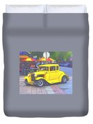 Yellow 1930's Ford Roadster Duvet Cover