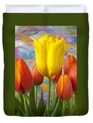 Yellow And Orange Tulips Duvet Cover