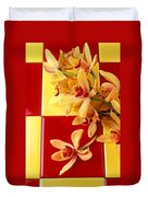 Yellow And Red Orchids  Duvet Cover