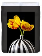 Yellow And Red Tulips Duvet Cover