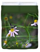 Yellow Banded Black Winged Fly 1 Duvet Cover