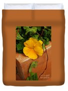 Yellow Blossom On Planter Duvet Cover