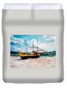 Yellow Boat Docking On The Shore Duvet Cover