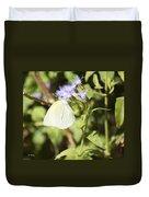Yellow Butterfly Feeding On Violet Flower Duvet Cover