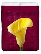 Yellow Calla Lily Red Mat Duvet Cover