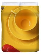 Yellow Cup And Plate Duvet Cover
