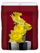 Yellow Daffodils In Checkered Vase Duvet Cover