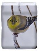 Yellow Finch Cold Snow Duvet Cover
