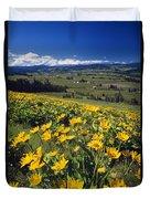 Yellow Flowers Blooming, Hood River Duvet Cover