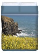 Yellow Flowers On The Northern California Coast Duvet Cover