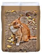 Yellow Kitty Duvet Cover