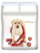 Yellow Lab Pup At Christmas Duvet Cover