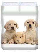 Yellow Labrador Retriever Pups Duvet Cover