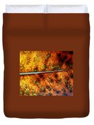 Yellow Leaf With Green Spots And Black Dots Duvet Cover