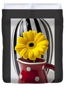 Yellow Mum In Pitcher  Duvet Cover