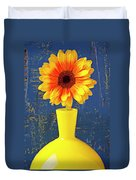 Yellow Mum In Yellow Vase Duvet Cover