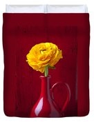 Yellow Ranunculus In Red Pitcher Duvet Cover