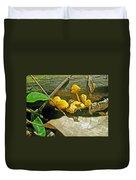 Yellow Sandpaper Mushrooms Duvet Cover
