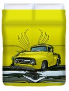 Yellow Truck In Truck Grill Duvet Cover