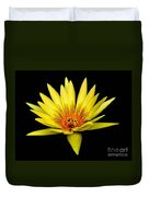 Yellow Water Lily Duvet Cover by Nick Zelinsky