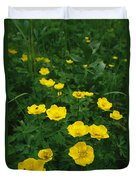 Yellow Wildflowers Blooming In Lush Duvet Cover