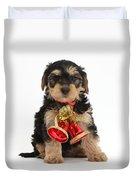 Yorkipoo Pup Wearing Christmas Bells Duvet Cover