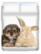 Yorkipoo Pup With Sandy Rabbit Duvet Cover