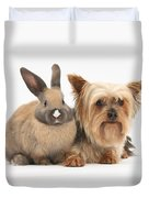 Yorkshire Terrier And Young Rabbit Duvet Cover