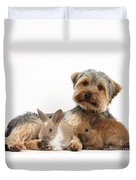 Yorkshire Terrier Dog And Baby Rabbits Duvet Cover