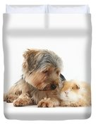 Yorkshire Terrier Dog And Guinea Pig Duvet Cover