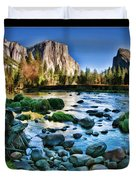 Yosemite Rocks In River Duvet Cover