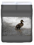 Young Duck On The Beach Duvet Cover