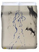 Young Female Nude In Agony While Running From Her Thoughts In Blue Yellow Black Serigraph Monoprint Duvet Cover