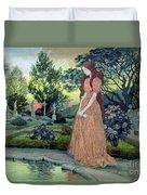 Young Girl In A Garden  Duvet Cover