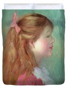 Young Girl With Long Hair In Profile Duvet Cover