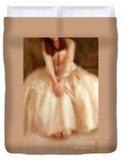 Young Lady Sitting In Satin Gown Duvet Cover