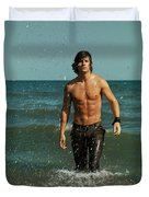 Young Man Walking Out Of The Water Duvet Cover