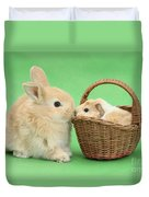 Young Rabbit With Baby Guinea Pig Duvet Cover