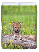 Young Wolf Cub Peering Over Log Duvet Cover