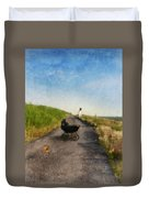 Young Woman And Baby Buggy On Dirt Road  Duvet Cover