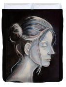 Young Woman In Profile-quick Self Study Duvet Cover