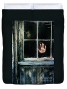 Young Woman Looking Through Hole In Window Duvet Cover by Jill Battaglia