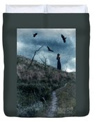 Young Woman On Creepy Path With Black Birds Overhead Duvet Cover
