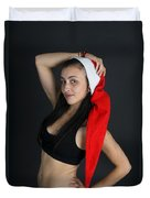 Young Woman Wearing Santa Hat Duvet Cover