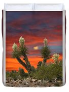 Yucca Blooming Sunset-moonset Duvet Cover